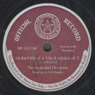 Circa 1940 Special Texas A&M University Record.