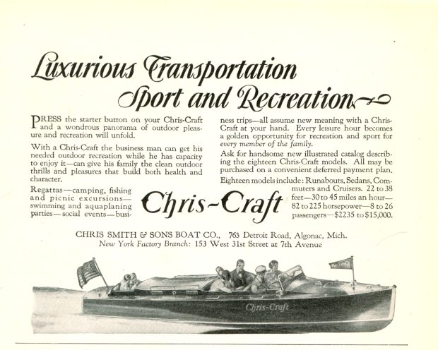 1929 Chris-Craft Boat Ad