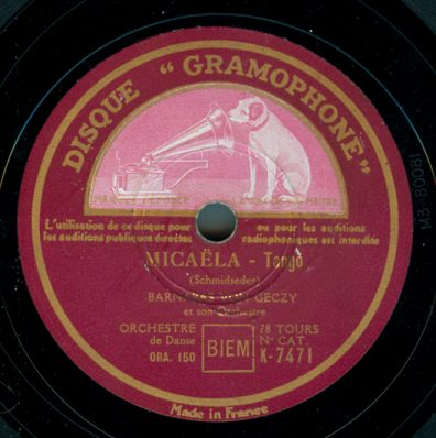 1934 Disque Gramophone label - France