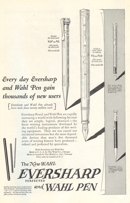 Wal Eversharp and Wahl Pen - 1925 ad