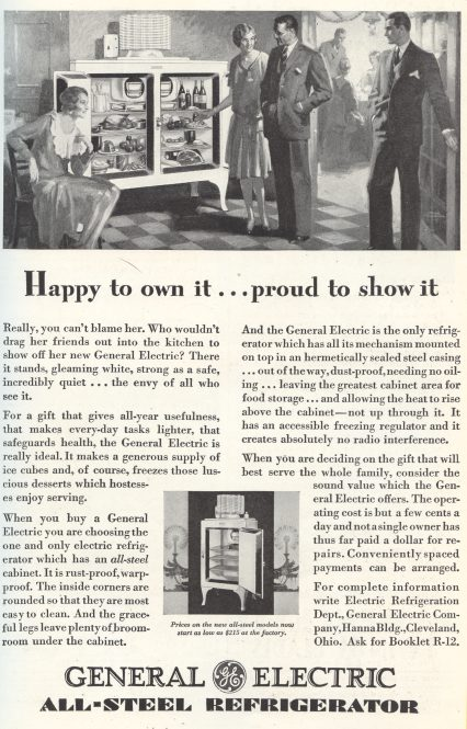 General Electric All-Steel Refrigerator - 1929 ad