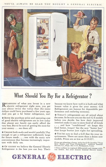 1941 General Electric Refrigerator Ad