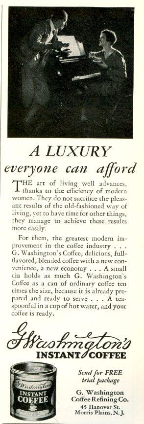G Washington Coffee - 1928 ad