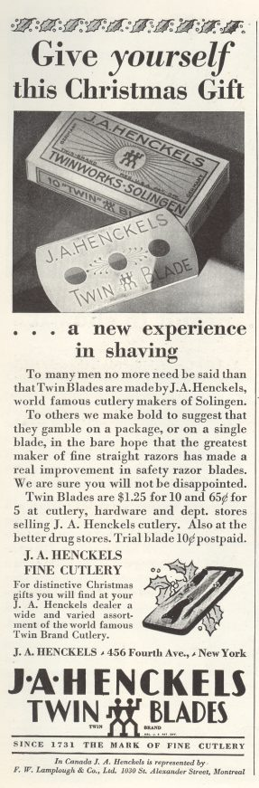 1929 ad Henckels Twin Blades Razors