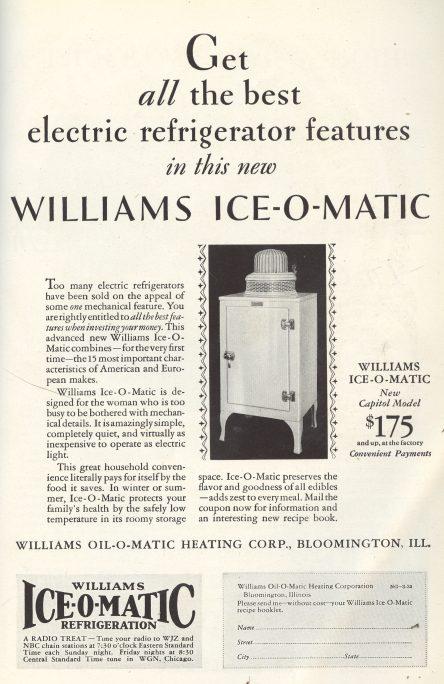 1930 Williams Ice-O-Matic ad