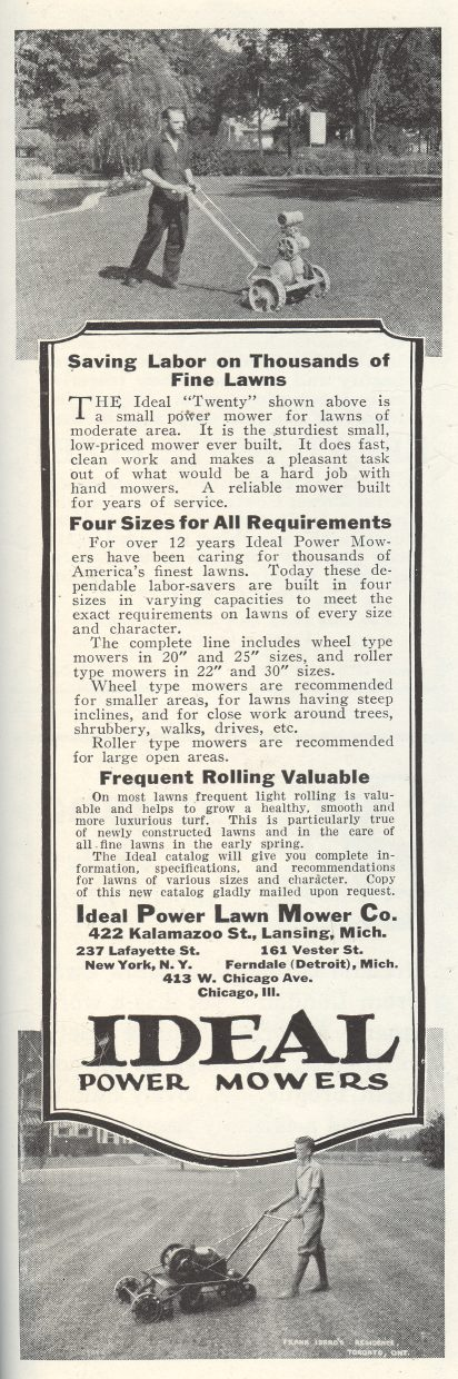 Ideal Power Mowers - 1928 Ad