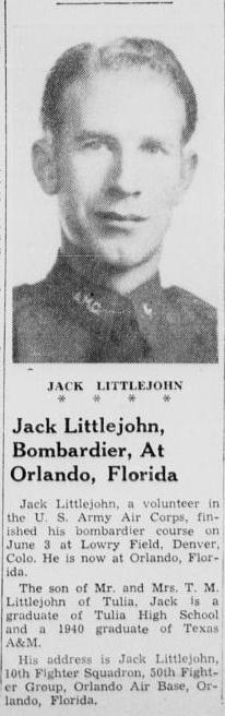 Jack Littlejohn - From Tulia Heralk July 16, 1942