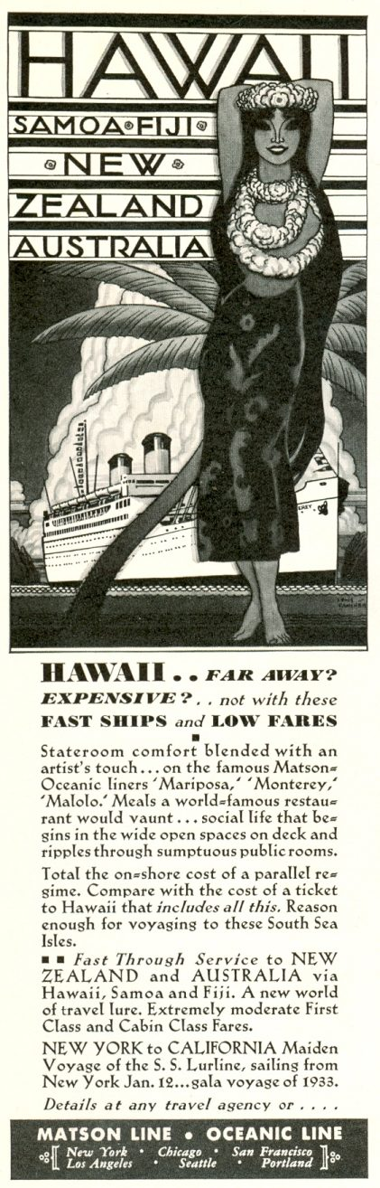 Matson Line - Oceanic Line  Hawaii, Samoa, Fiji, New Zealand, Australia
