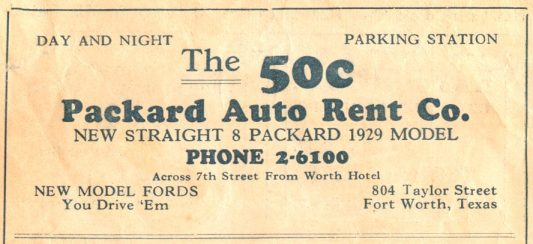 1928 Packard Auto Rent Co. Ad - Fort Worth, Texas