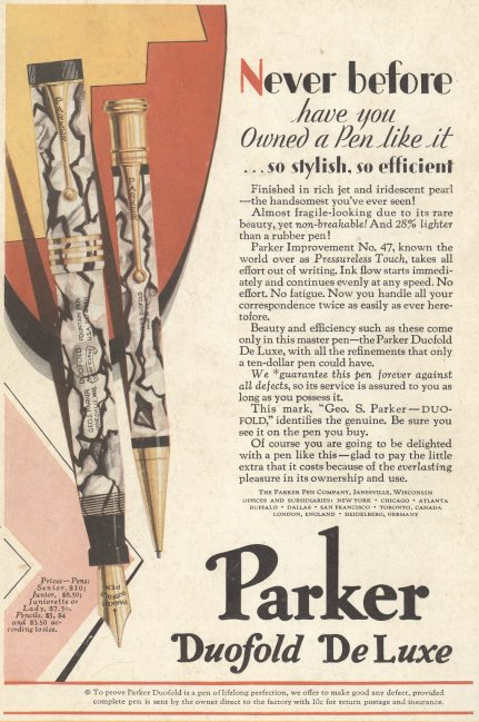Parket Duofold DeLuxe - 1929 ad