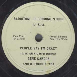 Gene Kardos And His Orchestra on Radiotone Recording Studio P 21891