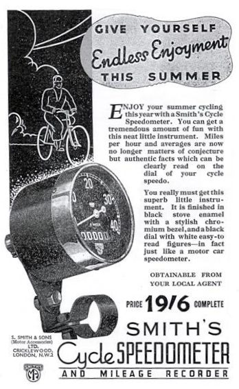 Smith's Cycle Speedometer 1937 ad