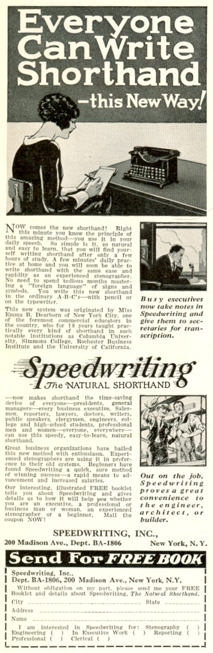 Speedwriting, Inc. 1929 ad