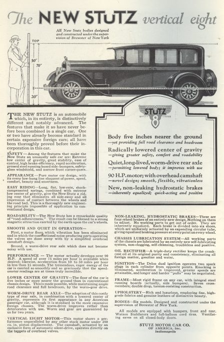 Stutz Motor Car Ad - 1926  Click on image for larger view.